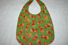 Brown Dinosaurs Green Baby Bib Cotton Front Towelling Back Handmade