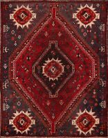 Antique Tribal Geometric Abadeh Area Rug Hand-knotted Traditional Oriental 4'x5'