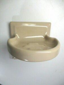 Lavatory Bathroom Sink 1950s Thin Set Fawn Beige Wall Mount Porcelain Soap Dish