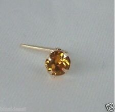 9ct Gold Andralok 3mm Golden Topaz Crystal NOSE STUD PIN BDay X'Mas GIFT BARGAIN