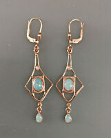 9906061 925er Silber rosévergoldet Jugendstil-Ohrringe mit Opal