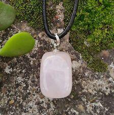 ROSE QUARTZ Crystal Gemstone Pendant LOVE ~ HEALING Pink Tumbled Stone Necklace