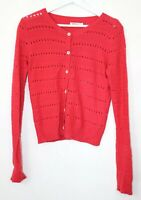 Ladies Cath Kidston Coral Long Sleeve Cardigan Size Small Fashion button down