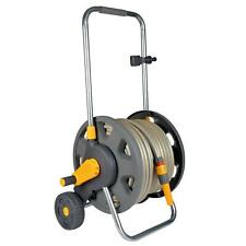 Hozelock 60m Assembled Hose Cart with 50m Garden Hose Pipe, Wheels & Handle Grey
