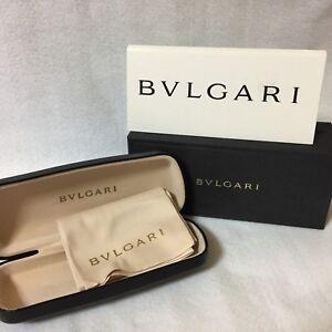 Auth BVLGARI Glasses Case Original Box and Cloth Black Eye Eyeglasses