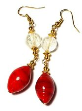Long Red White Earrings Tibetan Gold Plated Style Statement Boho Glass Bead Drop