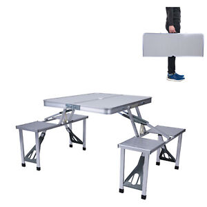 Huini Camping Folding Table Desk Portable Foldable Picnic Table Dining Table Laptop Computer Desk 2.6ft-80x60x69cm Easy Carry and Storage Aluminum Frame White