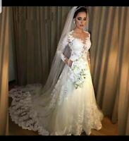 UK White Ivory Long Sleeve Bridal Lace Appliques A Line Wedding Dress Size 6-18