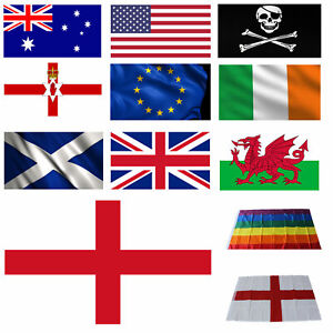 Large 3x5ft Flag Country England GB Rainbow Football Olympics National Rugby