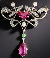 Pearl Look 925 Silver Brooch Pin 2.35cts Rose Cut Diamond Peridot Tourmaline