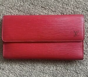 Authentic Louis Vuitton (LV) Epi Leather Envelope Long Wallet In Red