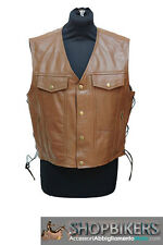 Gilet Uomo Warrior Pelle Marrone Laccetti Leather Vest Brown Biker Moto TG XXL