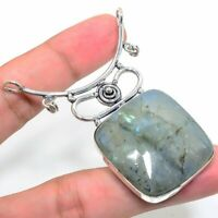 "Wedding Gift Labradorite Gemstone Handmade Ethnic Jewelry Pendant 1.77"" VJ-11848"