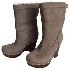 UGG Carnagie Lynnea Leder Boots Stiefel grau coral Gr 37 UK 4,5 LP 299 €