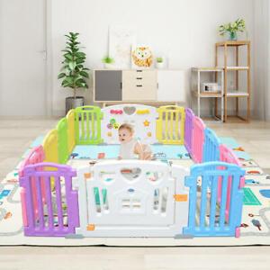 14 Panel Baby Playpen Kids Play Yard + Double-sided Play Mat Waterproof Playmat