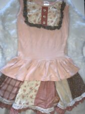🌺 Beautiful Persnickety Girls 7 Pink Lace Striped Floral Outfit Top Skirt