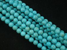 Gemstone Beads Blue Turquoise 8mm Round Beads 35cm Strand Jewellery FREE POSTAGE