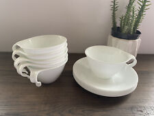 11 PC Corelle Corning Winter White Frost Coffee Tea Cup & Saucer Set Hook Handle