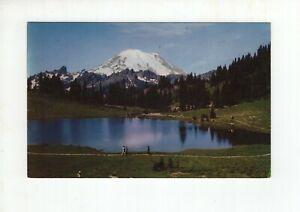 Vintage Post Card - Mt Rainier and Tipsu Lake - Rainier National Park - WA