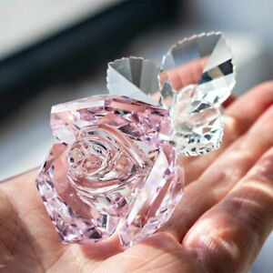 Flower Rose with Pot K9 Crystal Figurine for Paperweight Collection Wedding Gift