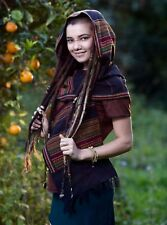 Handmade Hooded Scarf with hood Black Embroidery Tribal Pattern Gypsy Jungle Nom