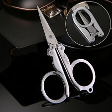 Handy Pair of Folding Scissors Stainless Steel Travel Pocket Foldable Multi User