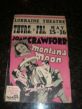 "MONTANA MOON Original 1930 Window Card, JOAN CRAWFORD, 14"" x 22"", Flat, C6 Fine"