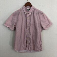 Kennington Button Down Shirt Sz L Pink White Floral Short Sleeve 100% Cotton