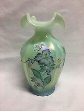 """Fenton Sea Mist Green Iridescent Vase HP Flowers Butterfly 7 1/4"""""""