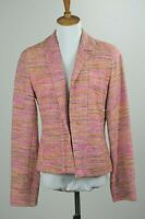 Women's Doncaster Silk Blend Blazer Jacket Size 4 (S) Textured Open Front Pink's