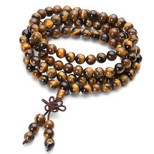 Men's Natural Tiger Eye Bracelet Necklace Buddhist Bead Chain Paryer Cuff Bangle