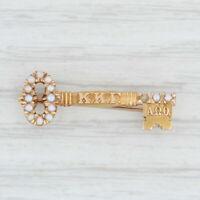 Antique Kappa Kappa Gamma Pin 14k Gold Pearl 1900s Greek Sorority Key Badge