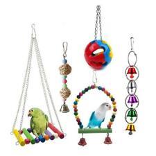 5pcs Bird Parrot Toys Bell Hanging Pet Bird Cage Hammock Swing Toy Colorful Bite