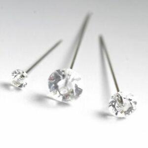 100 Diamante Pins Clear Acrylic Wedding Buttonholes Bouquet Florist 4cm 5cm 6cm