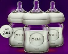 Lot Of 9 Bottles Philips AVENT Natural Glass Bottle, 4 Ounce Free Shipping, New