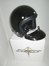 M2R OPEN FACE MOTORCYCLE / SCOOTER HELMET NEW! small GLOSS BLACK WITH PEAK,