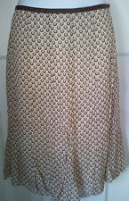 MARKS&SPENCER WOMENS Brown/Beige Polyester/Viscose A Line Skirt Size:12/40(WS67)