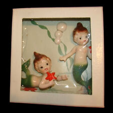 Vintage MERMAID SISTER WALL PLAQUES w Starfish - MINT IN BOX!
