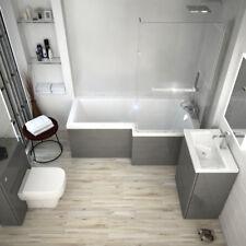 Complete Bathroom Patello Shower Bath Set With Vanity BTW Unit Toilet Grey RH