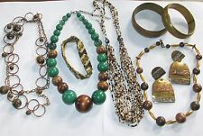 BOLD LOT jewelry VINTAGE to NOW earrings necklaces bangles bronze green brown