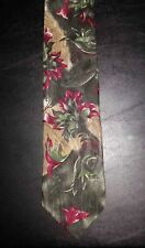 3790t NIB Dk Pink Olive Green Charcoal Tan Unbranded Floral Silk Tie!