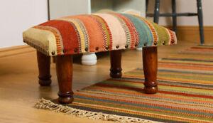 Multi Colour Orange Kilim Footstool Foot Rest Seat Wool Cotton Striped Design