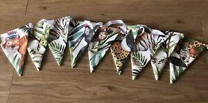JUNGLE SAFARI ANIMAL THEME FABRIC BUNTING FLAGS ~ UNISEX BEDROOM, PARTY, NURSERY