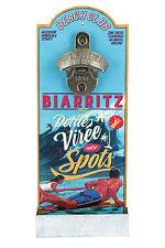 Kapselheber Wand Bier Flaschenöffner Biarritz Holz  Retro Vintage Natives