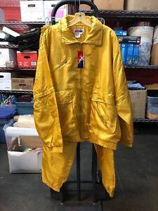 VTG 1990s NOS AST Sportswear 2 Piece Nylon Yellow Windbreaker Adjustable 2XL