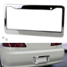1PC Chrome Stainless Steel Metal License Plate Frame Tag Cover With Screw Cap~VU