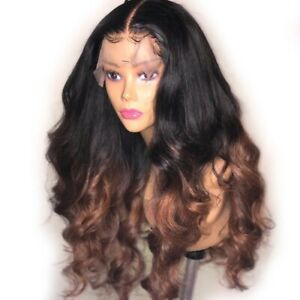 8A 250% Unprocessed Brazillian Ombre 1b/brown Bodywave Lace Front Human Hair Wig