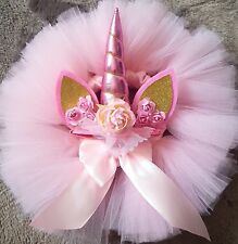 Tutu 12 months+ baby girl cakesmash pink skirt  unicorn headband party dress
