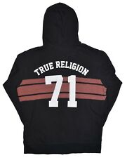 True Religion Buddha Hoodie Mens Size Medium Black Varsity Spellout Sweatshirt