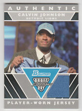 CALVIN JOHNSON 2007 Bowman DRAFT DAY SELECTIONS Jersey + Topps, Score, Total RC